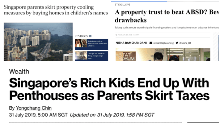 Newspaper Article on Why buy Singapore Property In Trust for your child
