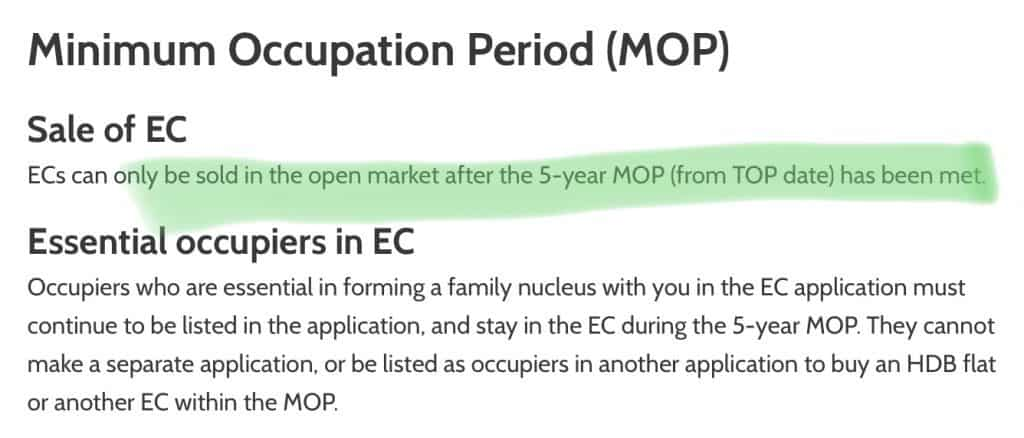 5 Years MOP for EC too