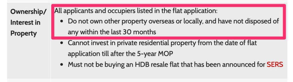 No HDB Housing Grants within 30 months of sale of private property
