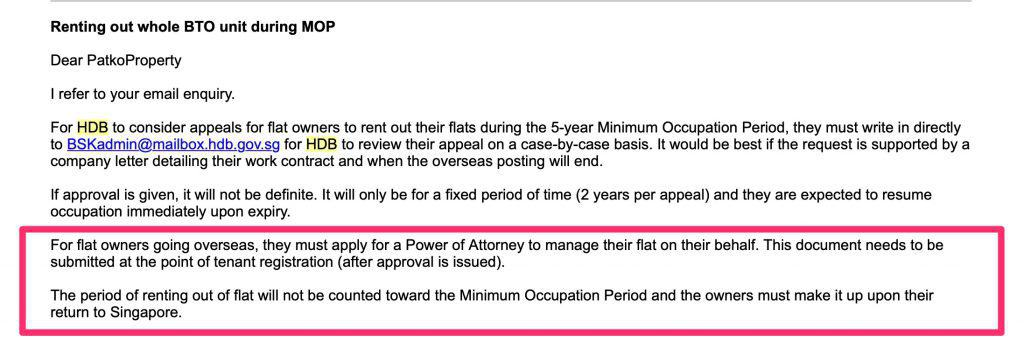 Period of Renting out the flat during MOP will not count into MOP