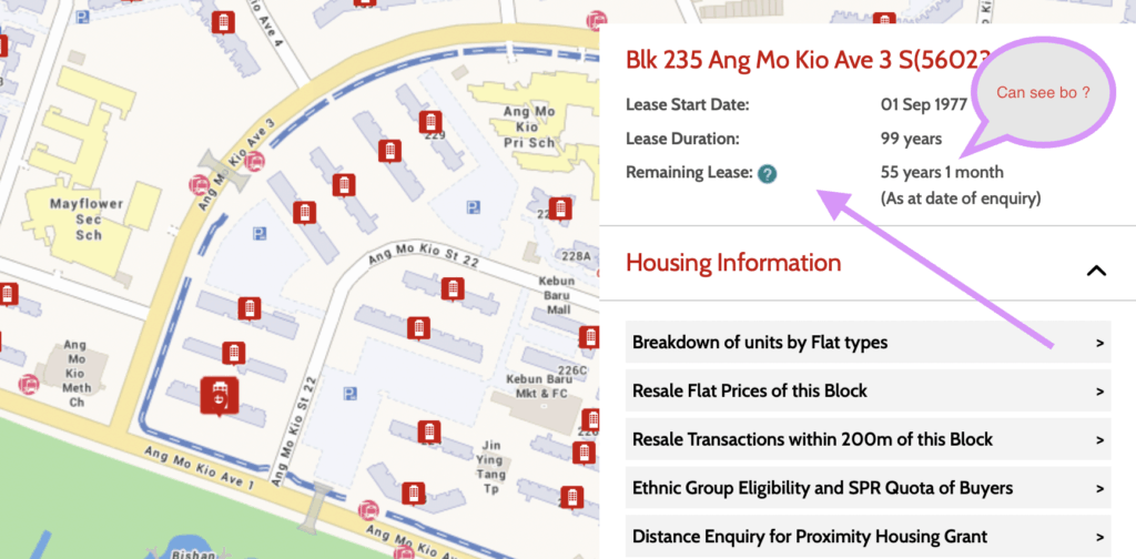 Finding HDB remaining lease from HDB One Map